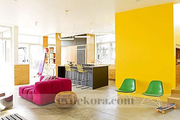 Sarı ve pembe ev dekorasyonu örnekleri 2014